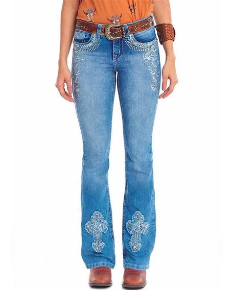 Calça Jeans Tassa Feminino Flaire Boot Cut Bordado Pedras
