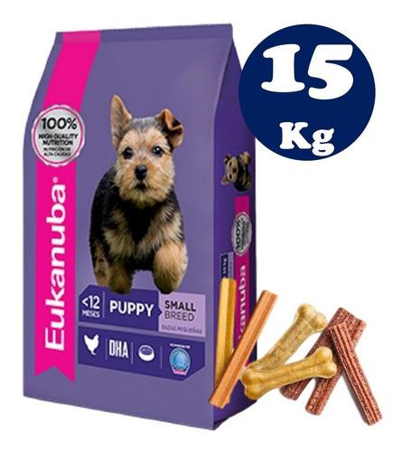 Imagen 1 de 2 de Eukanuba Cachorro Razas Pequeñas 15kg + Snack