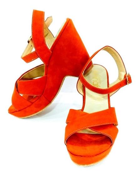 Zapatilla Naranja Tacón Corrido Moda Dama Zapato Mujer Fiest