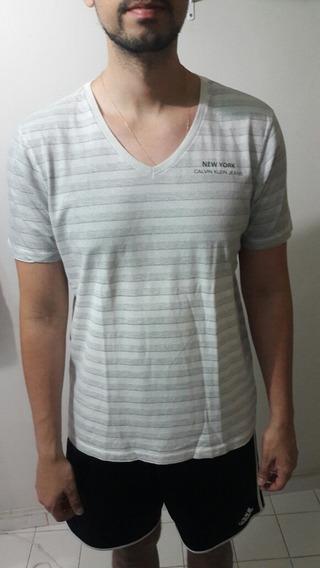 Camisa Calvin Klein Gola V Listras Osklen/armani