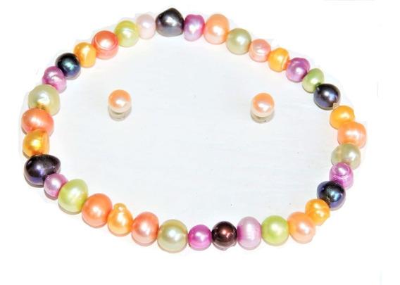 1 Pulsera Perlas Cultivadas 4-5 Mm Multicolor + Aretes