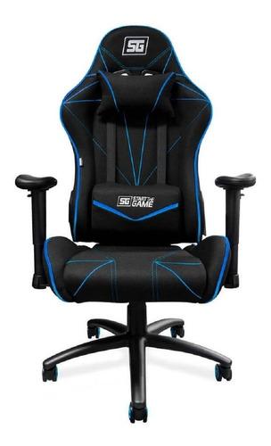 Imagen 1 de 4 de Silla de escritorio Vorago CGC-500 gamer ergonómica  negra y azul con tapizado de tela