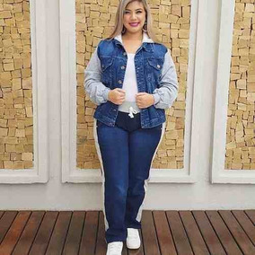 Jaqueta Jeans Com Moletom Feminina Plus Size Azul Escuro