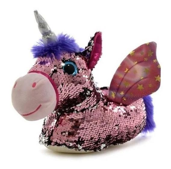 Pantufla Unicornio Con Lentejuelas Importadas