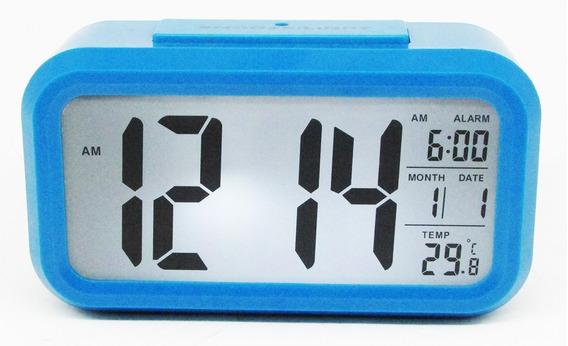 Reloj Digital Alarma Numeros Grandes Fechador Azúl Luz Led