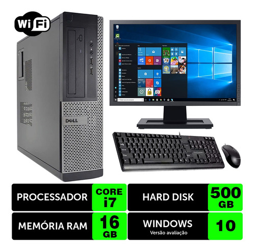 Desktop Usado Dell Optiplex Int I7 2g 16gb 500gb Mon19w