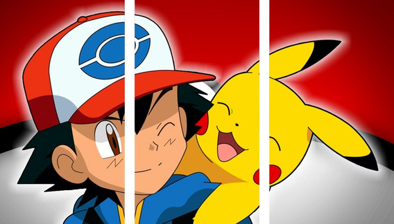 Pokemon - Ash Y Pikachu - Cuadros Trípticos Modernos