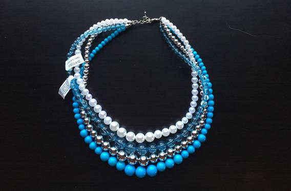 Collar Italiano, Azul Con Plata Y Perla. Mod. 506