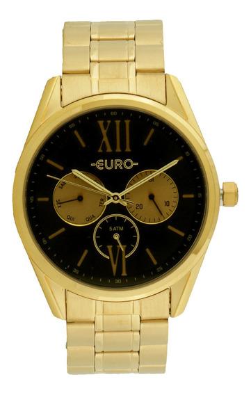 Relógio Feminino Dourado Aço Euro Eu6p79ad/4p Original