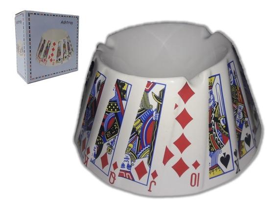 Cinzeiro Cigarro Porcelana Cartas Baralho Naipe Jogo Poker R