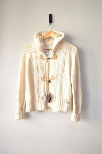 Sweater Italiano Mujer Color Beige Con Gorro, Talla Xl