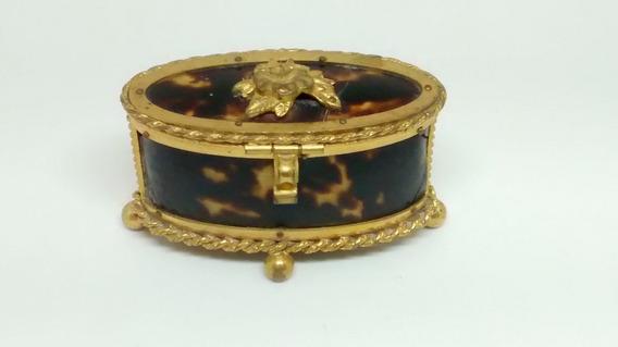 Porta Jóias Antigo Casco De Tartaruga E Ouro Banho