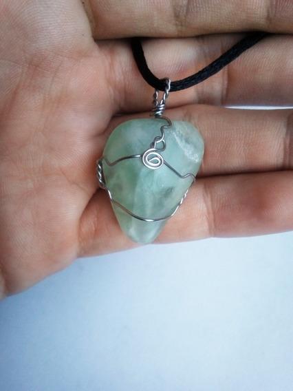 Collar Dije Colgante Piedra Flourita Verde Vintage Reiki