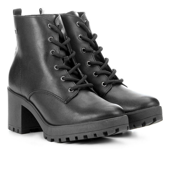 Bota Ankle Boot Ramarim Napa Tratorada - Preta