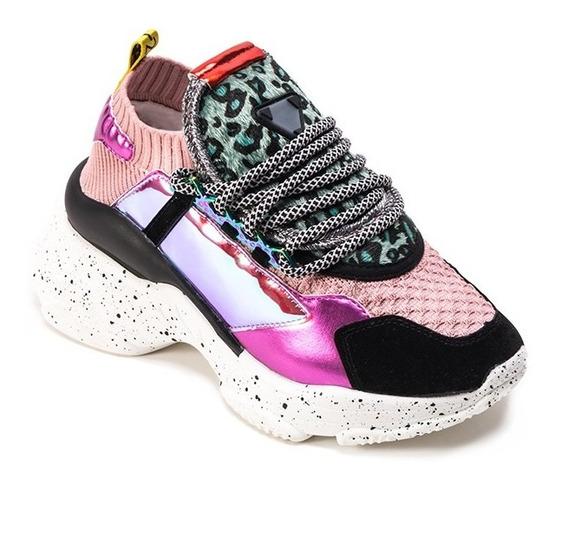 Sneaker Dama 579203 Textil Rosa Multicolor Y Suela Moteada