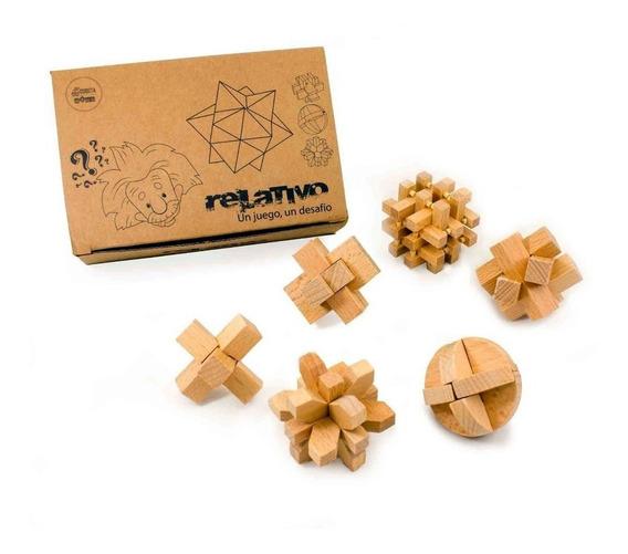 Juego De Ingenio X6 Un. De Madera Ideal Souvenir Orig Cubeta