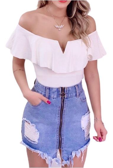 Saia Jeans Destroyed Zíper Frontal Moda Blogueira Verao Chic
