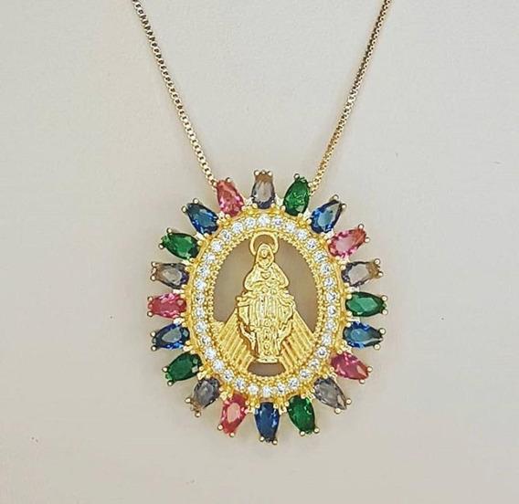 Colar Imaculado Coração De Maria Ouro 18k, Cristais Color