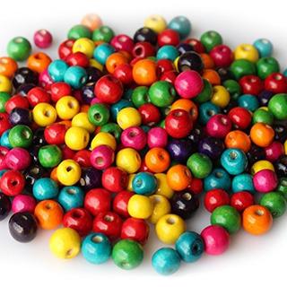 400 Pcs Assorted Color Round Wood Beads Cuentas Espaciadoras