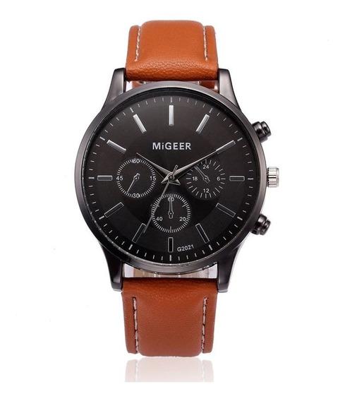 Relógio Masculino Pulseira Couro Social 2021 Barato Promoção