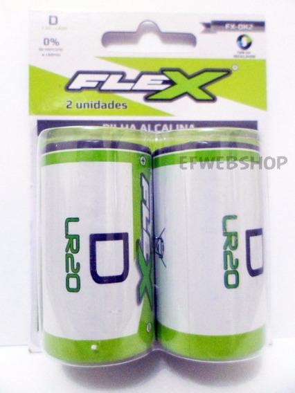Pilhas D Grande Alcalinas Flex Bl Com 02