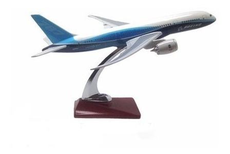 Miniatura De Avião Metal Boeing 787 Com Base Madeira
