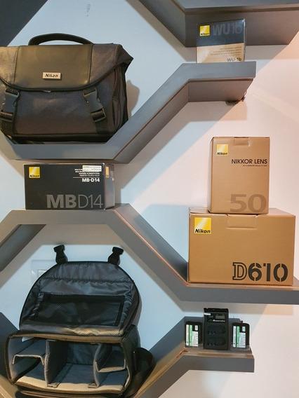 Kit Nikon D610 +baterias Extra +lente 50mm +grip +wifi Bolsa