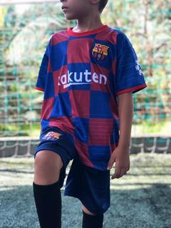 Conjunto Infantil Short E Camisa Barcelona Uniforme Messi