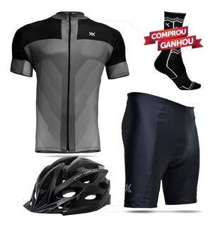 Kit Conjunto Roupa Ciclismo Camisa Bermuda Capacete Bike Mtb