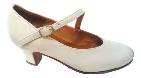 Zapatos De Danza Folklore Y Español En Cuero Natural