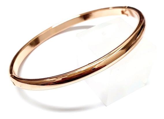 Bracelete Rígido Dourado Folheado A Ouro Liso Espelhado