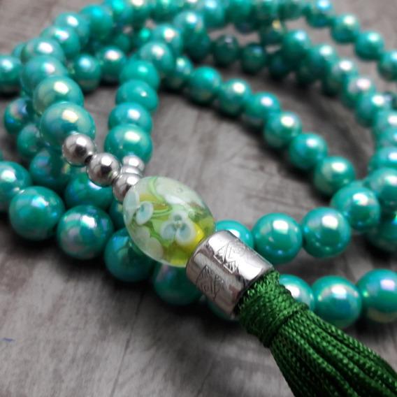 Colar Japamala Budismo Ho´oponopono 108 Contas Verde