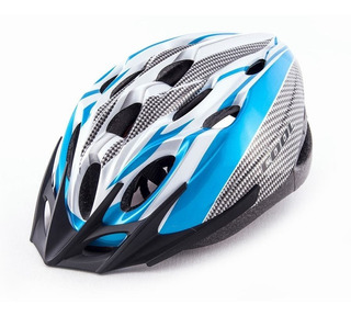Casco Ciclista Cool Celeste Gris Blanco Unisex