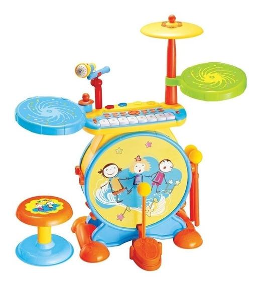 Piano Teclado Bateria Infantil Eletronica Karaoke Luz E Som