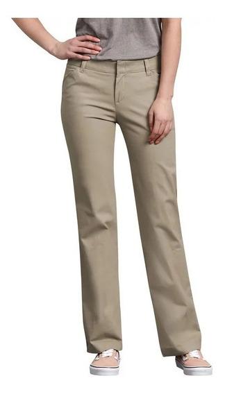 Pantalón Dickies Fp321 Gabardina Stretch Corte Recto Mujer