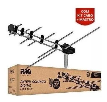 Antena Externa Tv Digital + Suporte + Cabo De 8mts Uhf/vhf/fm