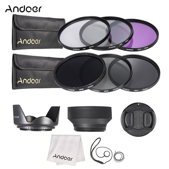 Andoer Kit De Filtro De Lente De 77mm Uv + Cpl + Fld + Nd (n