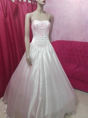 Vestido De 15 Blanco Con Rosa