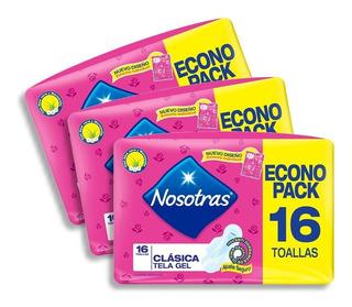 Toallitas Femeninas Nosotras Clasica Tela Gel 3 Ecopacks X16