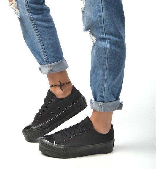 Zapatilla Plataforma Sneakers Goma Negro