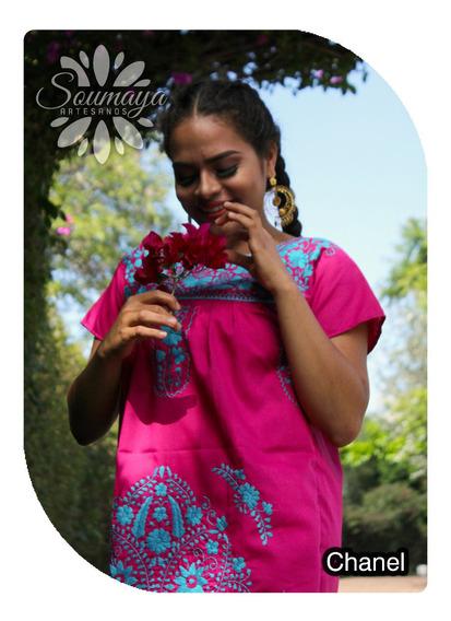 Vestido Artesanal Chanel Bordado A Mano Mexicano