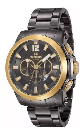 Relógio Seculus Masculino 13025gpsvja1 Cronógrafo Bicolor