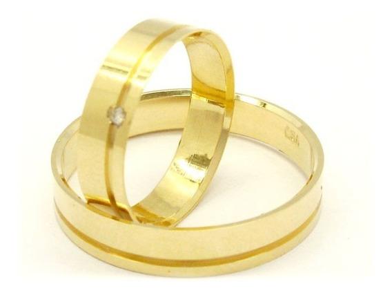 Joianete Par Aliança Ouro18k 5gr1canal Brilhante Casamento