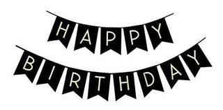 Feliz Cumpleaños Fiesta Pancarta Banderín Oro Letras Para
