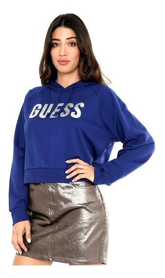 Sudadera Para Mujer Guess Estilo Hoodie Azul 100% Original