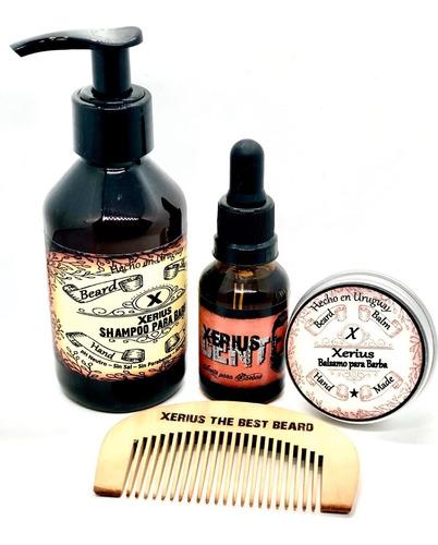 Set Para Barba Xerius Aceite 30 Ml!! Shampoo Balsamo Peine