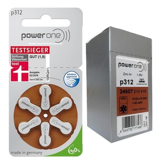 Bateria P312 Aparelho Auditivo Pr41 Power One 60 Pilhas Nota