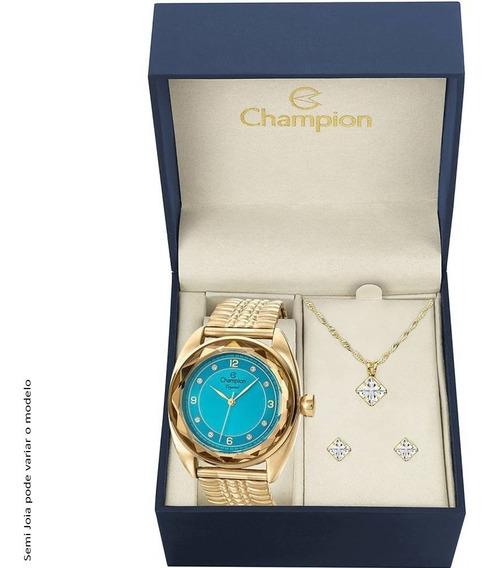 Kit Relógio Champion Cn27858y Dourado E Azul + Brinco E Cola