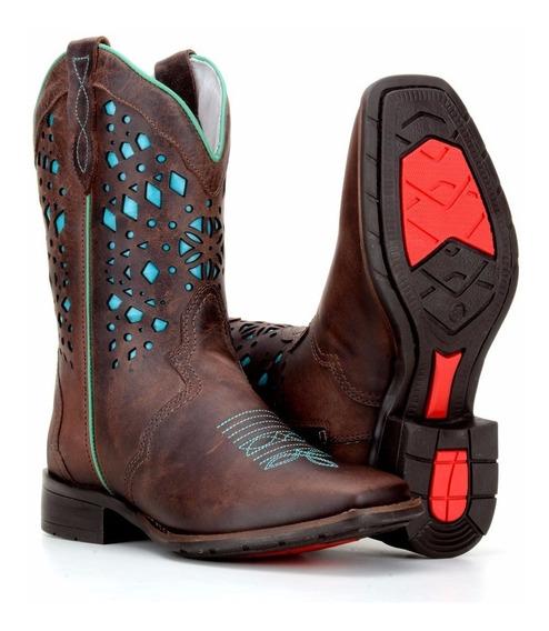 Bota Country Feminina Texana Bico Quadrado Capelli Boots