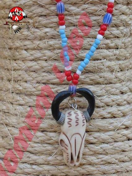 Colar Indígena Americano Totem Búfalo Em Osso Indio Xamã